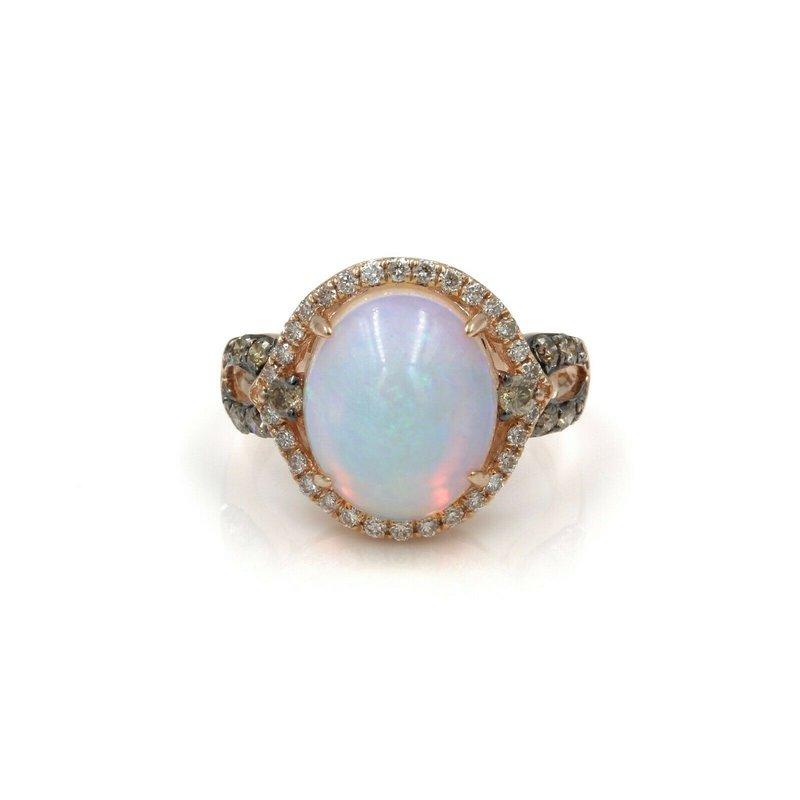 National Rarities 14K ROSE GOLD BEAUTIFUL LEVIAN OPAL & DIAMOND CLUSTER RING SIZE 5 #999B-1