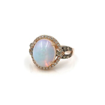 14K ROSE GOLD BEAUTIFUL LEVIAN OPAL & DIAMOND CLUSTER RING SIZE 5 #999B-1
