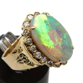 14K YELLOW GOLD 4.65CT OVAL OPAL CABOCHON DIAMOND ACCENT COCKTAIL RING #JB71-7