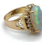 Unbranded 14K YELLOW GOLD 4.65CT OVAL OPAL CABOCHON DIAMOND ACCENT COCKTAIL RING #JB71-7
