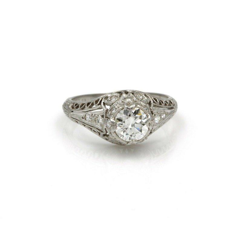 Antique PLATINUM .93 CTW OLD EURO DIAMOND EDWARDIAN MILGRAIN FILIGREE RING 4.75 #E-326