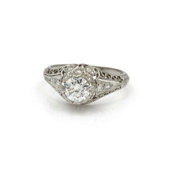 PLATINUM .93 CTW OLD EURO DIAMOND EDWARDIAN MILGRAIN FILIGREE RING 4.75 #E-326