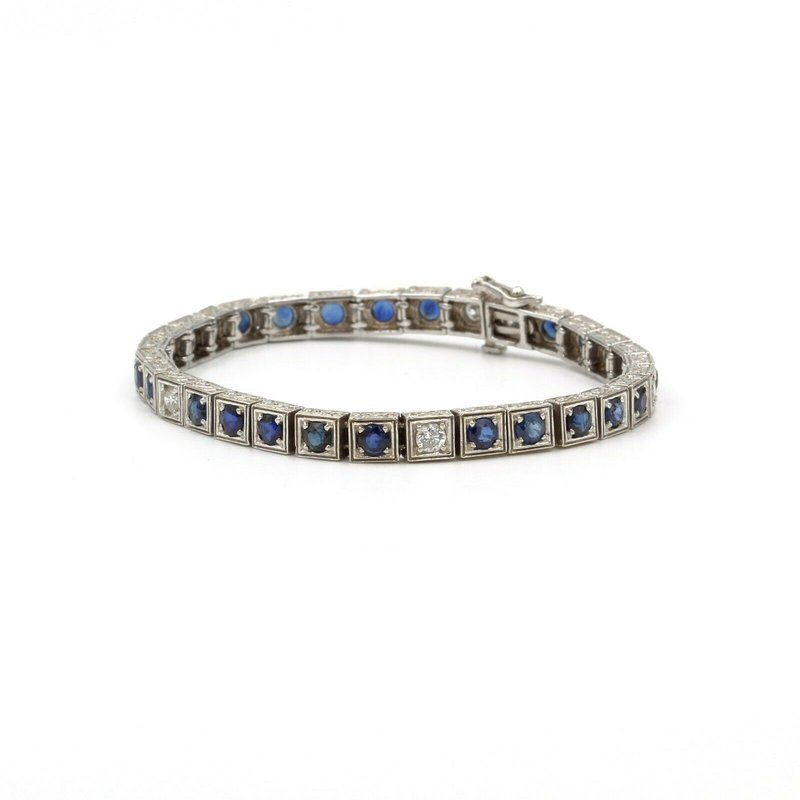 National Rarities 14K WHITE GOLD 5.9 CTW ROUND SAPPHIRE & DIAMOND SQUARE SEGMENT BRACELET #E-179