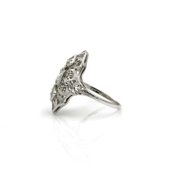 18K ART DECO FILIGREE WHITE GOLD DIAMOND OMC OEC COKTAIL RING CHAMPAGNE #1026B-9