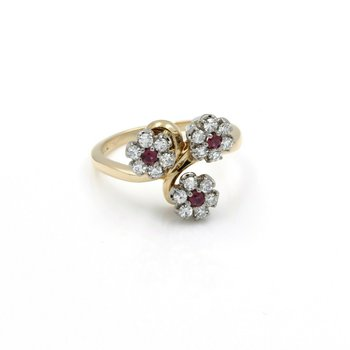 JABEL 18K YELLOW WHITE GOLD RUBY DIAMOND FLORAL COCKTAIL RING SIZE 7.75  #D3-1