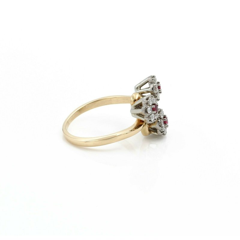 Jabel JABEL 18K YELLOW WHITE GOLD RUBY DIAMOND FLORAL COCKTAIL RING SIZE 7.75  #D3-1