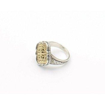 KONSTANTINO 18K YELLOW GOLD STERLING SILVER GREEK CLOVER RING INTRICATE D6-1