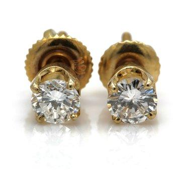 14K YELLOW GOLD FOUR PRONG ROUND BRILLIANT DIAMOND STUD EARRINGS 0.75CTW #JB71-2