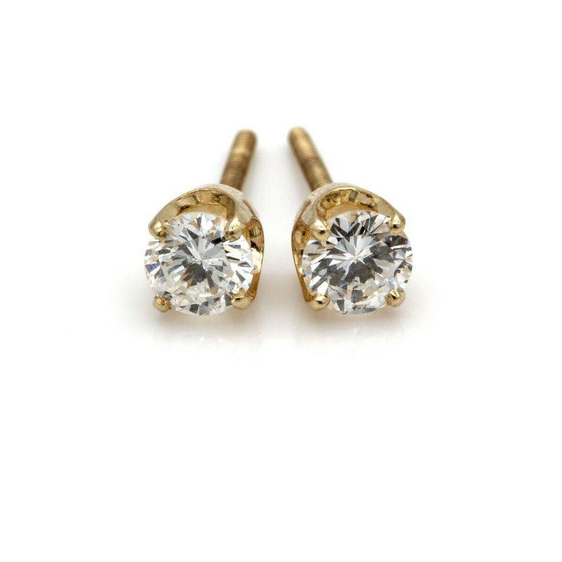 National Rarities 14K YELLOW GOLD FOUR PRONG ROUND BRILLIANT DIAMOND STUD EARRINGS 0.75CTW #JB71-2