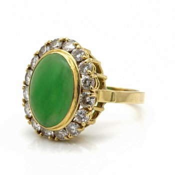 18K YELLOW GOLD CABOCHON JADEITE DIAMOND ACCENT COCKTAIL RING SIZE 6 #JB71-9