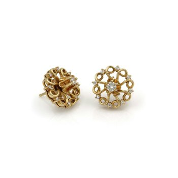 ANTIQUE 14K YELLOW GOLD ROUND CUT DIAMOND STUD WITH JACKET EARRINGS #JB61-5