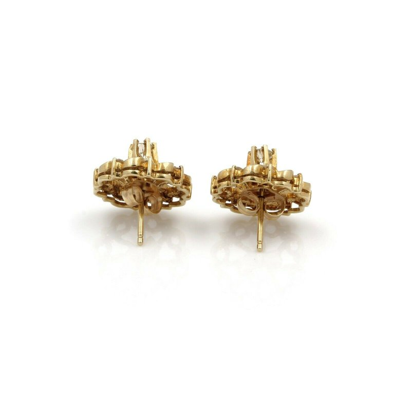 Antique ANTIQUE 14K YELLOW GOLD ROUND CUT DIAMOND STUD WITH JACKET EARRINGS #JB61-5
