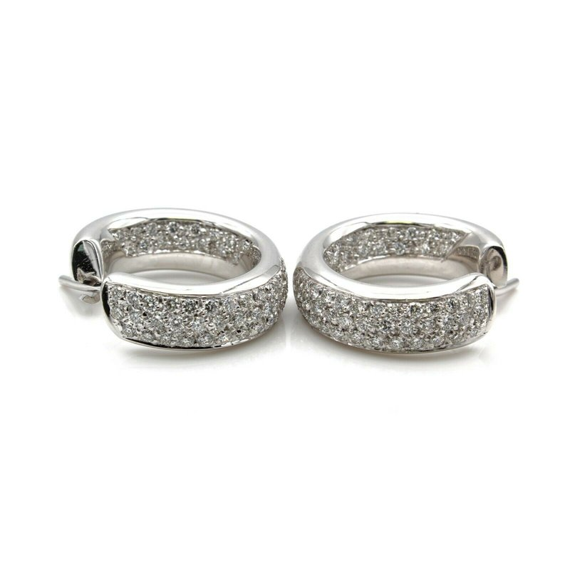 National Rarities 18K WHITE GOLD LEO PIZZO AERIAL DIAMOND PAVE - INSIDE OUT HOOP EARRINGS #D278-2