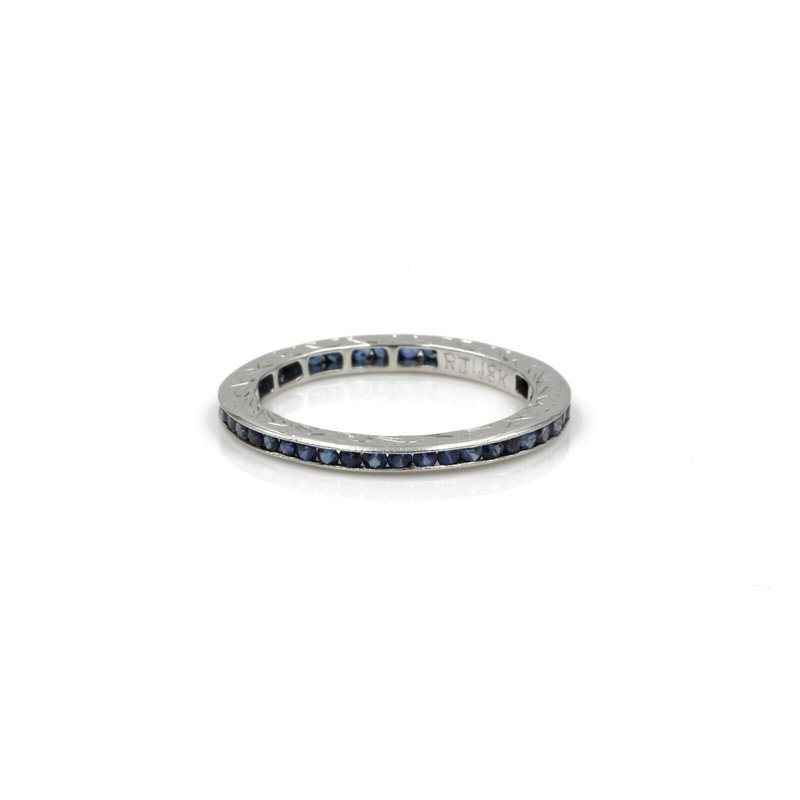 Eternity 18K WHITE GOLD ENGRAVED .80 CTW ROUND SAPPHIRE ETERNITY CHANNEL BAND S.7 1005B-6