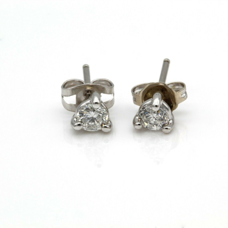 National Rarities CLASSIC 14K WHITE GOLD .40 CTW ROUND DIAMOND 3-PRONG STUD EARRINGS #1092B