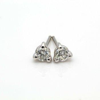 CLASSIC 14K WHITE GOLD .40 CTW ROUND DIAMOND 3-PRONG STUD EARRINGS #1092B