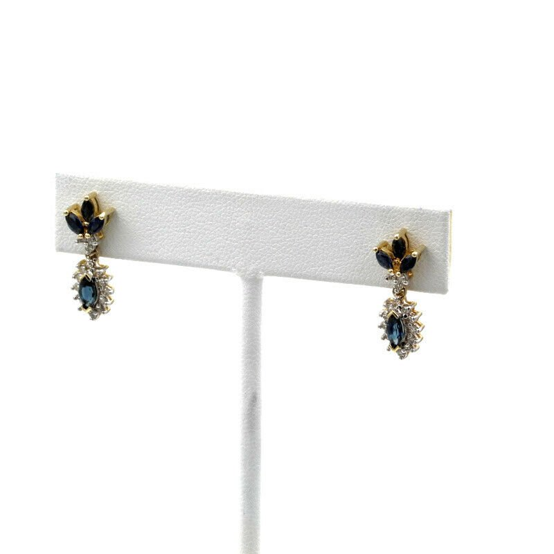National Rarities 14K WHITE GOLD 1.76CTW MARQUISE BLUE SAPPHIRE DIAMOND HALO DROP EARRINGS 1101B-1