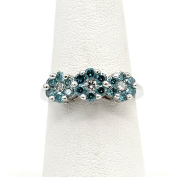 14K GOLD RING SET WITH IRRADIATED BLUE FLUSH HALO CLUSTER DIAMONDS BIN #1021B-5