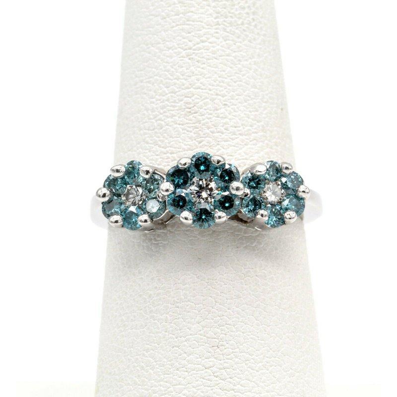 National Rarities 14K GOLD RING SET WITH IRRADIATED BLUE FLUSH HALO CLUSTER DIAMONDS BIN #1021B-5