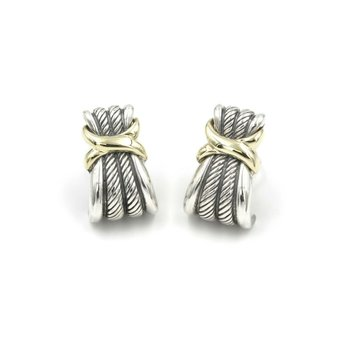 DAVID YURMAN 14K GOLD STERLING WHEAT CABLE EARRINGS HALF HOOP OMEGA BACK 1028B-4