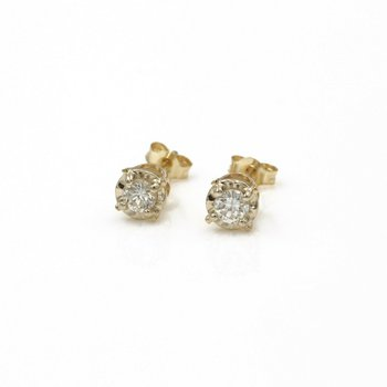 14K SOLID YELLOW GOLD DIAMOND STUD EARRINGS ILLUSION SETTING .25 TCW 987B-6