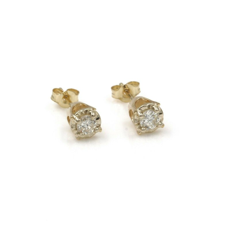 National Rarities 14K SOLID YELLOW GOLD DIAMOND STUD EARRINGS ILLUSION SETTING .25 TCW 987B-6