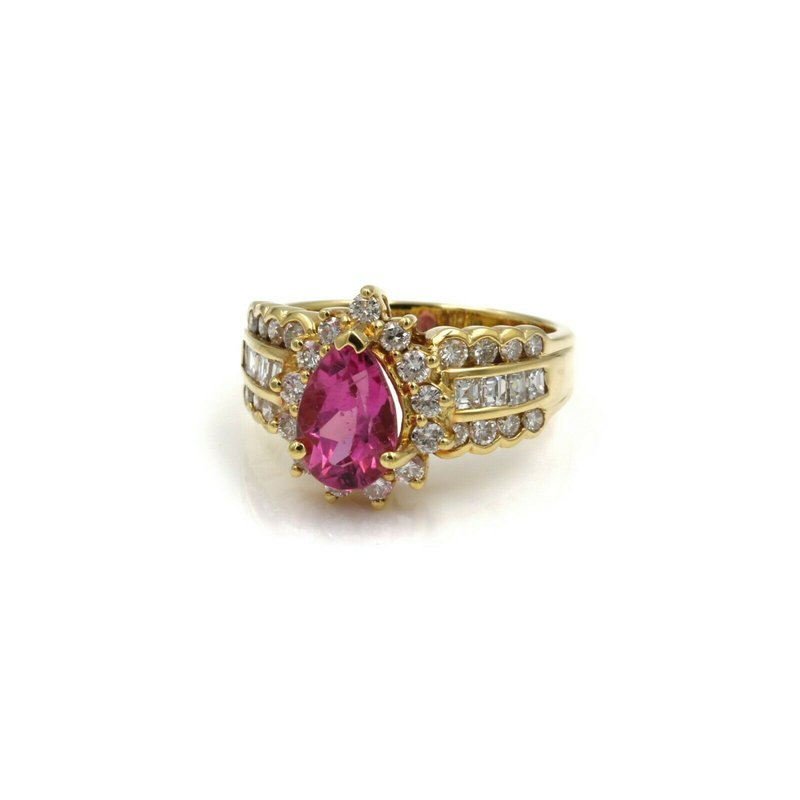 Halo 18K SOLID GOLD 2.63 CTW PINK TOURMALINE & DIAMOND HALO RING SIZE 6.5 #E-294