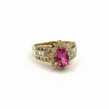 18K SOLID GOLD 2.63 CTW PINK TOURMALINE & DIAMOND HALO RING SIZE 6.5 #E-294