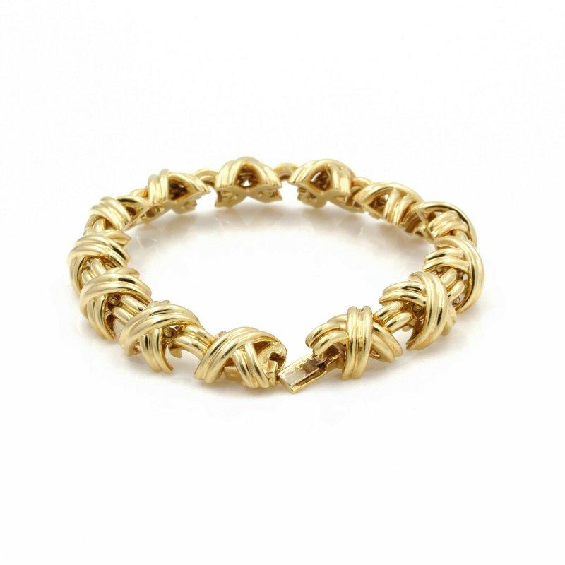 Designer TIFFANY & CO. 18K SOLID GOLD SIGNATURE X CROSSOVER BRACELET DESIGNER D1205-9