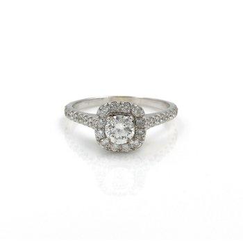 14K WHITE GOLD ROUND DIAMOND ENGAGEMENT RING W/ CUSHION HALO 1.06 CTW 1081B-3