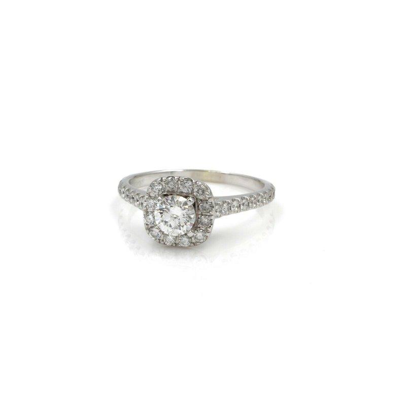 National Rarities 14K WHITE GOLD ROUND DIAMOND ENGAGEMENT RING W/ CUSHION HALO 1.06 CTW 1081B-3