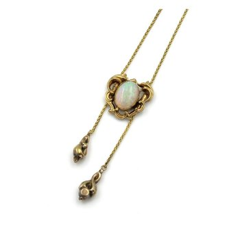 ANTIQUE 14K GOLD OVAL OPAL ROCOCO FRAME DOUBLE LARIAT ART NOUVEAU PENDANT 864B-4