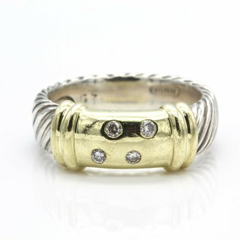 DAVID YURMAN METRO 4 DIAMOND RING 14K SOLID GOLD STERLING SILVER SIZE 7.25 D4-9