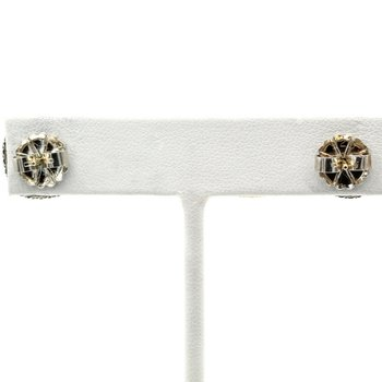 DAVID YURMAN CITRINE ALBION STUD POST EARRINGS STERLING SILVER 14K GOLD #1017B-6