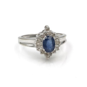 14K WHITE GOLD 1.20 CTW SAPPHIRE & DIAMOND CLUSTER COCKTAIL RING SIZE 7 #1001B-7