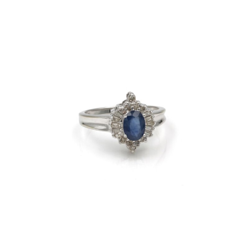 National Rarities 14K WHITE GOLD 1.20 CTW SAPPHIRE & DIAMOND CLUSTER COCKTAIL RING SIZE 7 #1001B-7