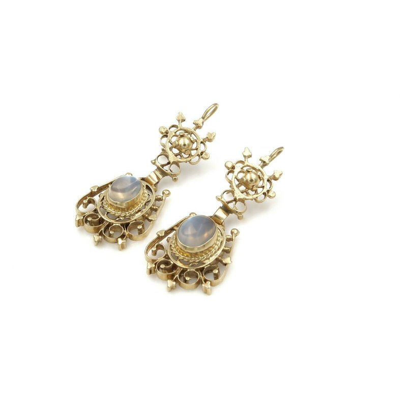 National Rarities STUNNING UNIQUE 14K SOLID GOLD 2.20 CTW MOONSTONE DANGLE EARRINGS #E-107