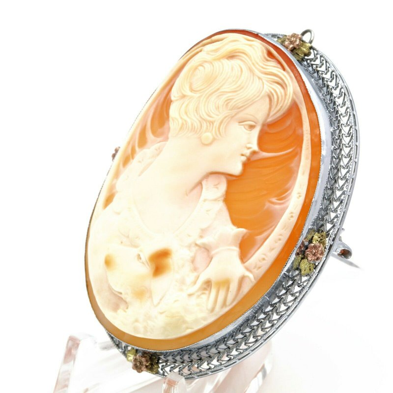 Cameo VINTAGE ART DECO 14K WHITE GOLD SHELL CAMEO W/ FLORAL ACCENT PIN/BROOCH #JB71-1