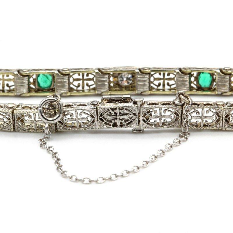 National Rarities ANTIQUE ART DECO 14K WHITE GOLD DIAMOND EMERALD DESIGN BRACELET NR #1044B-8