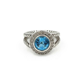 DAVID YURMAN ALBION BLUE TOPAZ DOUBLE CABLE RING STERLING SILVER # 966B-4