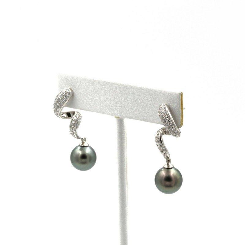 Mikimoto BEAUTIFUL MIKIMOTO PLATINUM TAHITIAN PEARL & 1.00 CTW DIAMOND EARRINGS #E-86