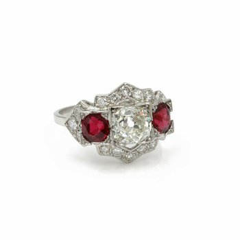 ART DECO ANTIQUE PLATINUM 3.5 CTW OLD EURO DIAMOND ROUND RUBY RING SIZE 8 #E274