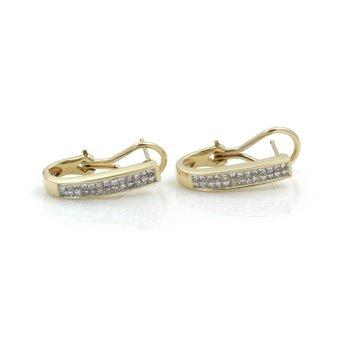 14K SOLID GOLD 1.04 CTW PRINCESS CUT H-I COLOR DIAMOND J HOOP EARRINGS #J2-9