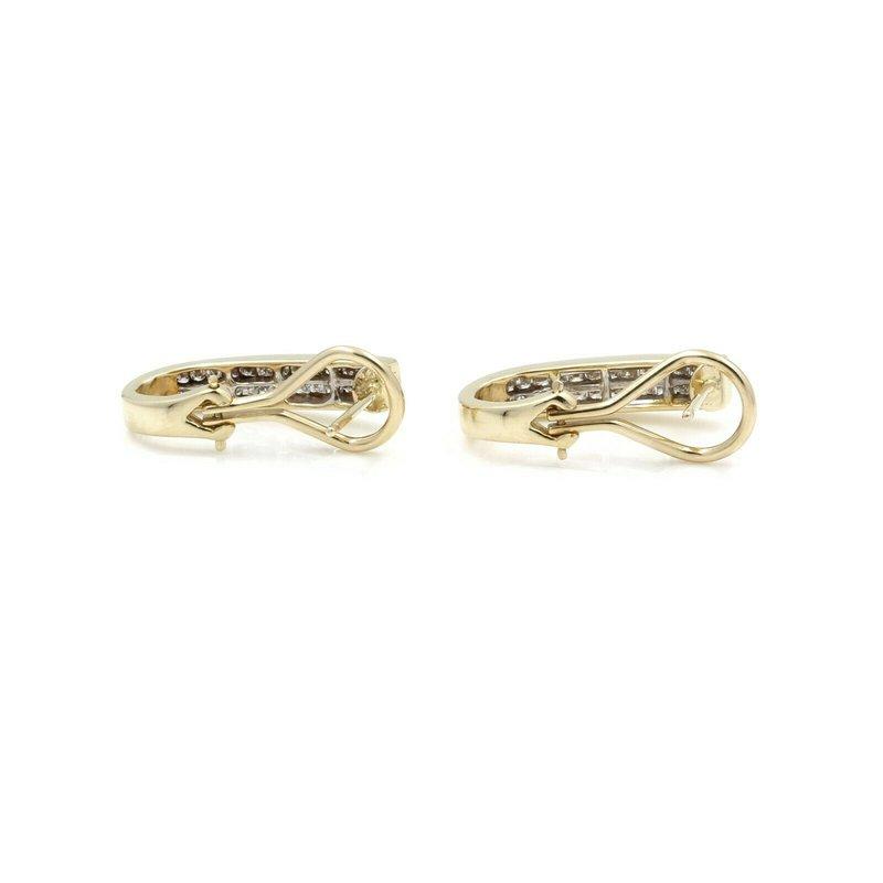National Rarities 14K SOLID GOLD 1.04 CTW PRINCESS CUT H-I COLOR DIAMOND J HOOP EARRINGS #J2-9