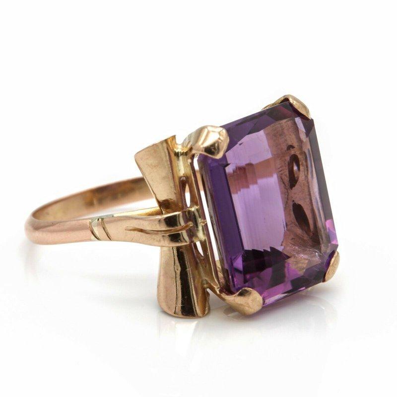 National Rarities UNIQUE 14K SOLID GOLD EMERALD CUT AMETHYST COCKTAIL RING 7.83 CARATS SZ 6 JB36-9