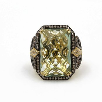 18K GOLD 10.23 CTW PRAISIOLITE & DIAMONDS FLEUR DE LIS RING SIZE 6.75 #956B-8
