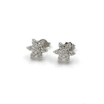 14K WHITE GOLD 0.15 CTW ROUND DIAMOND STAR STUD EARRINGS PUSH BACK #1036B-9