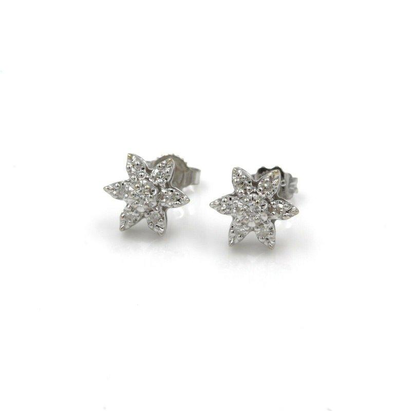 National Rarities 14K WHITE GOLD 0.15 CTW ROUND DIAMOND STAR STUD EARRINGS PUSH BACK #1036B-9
