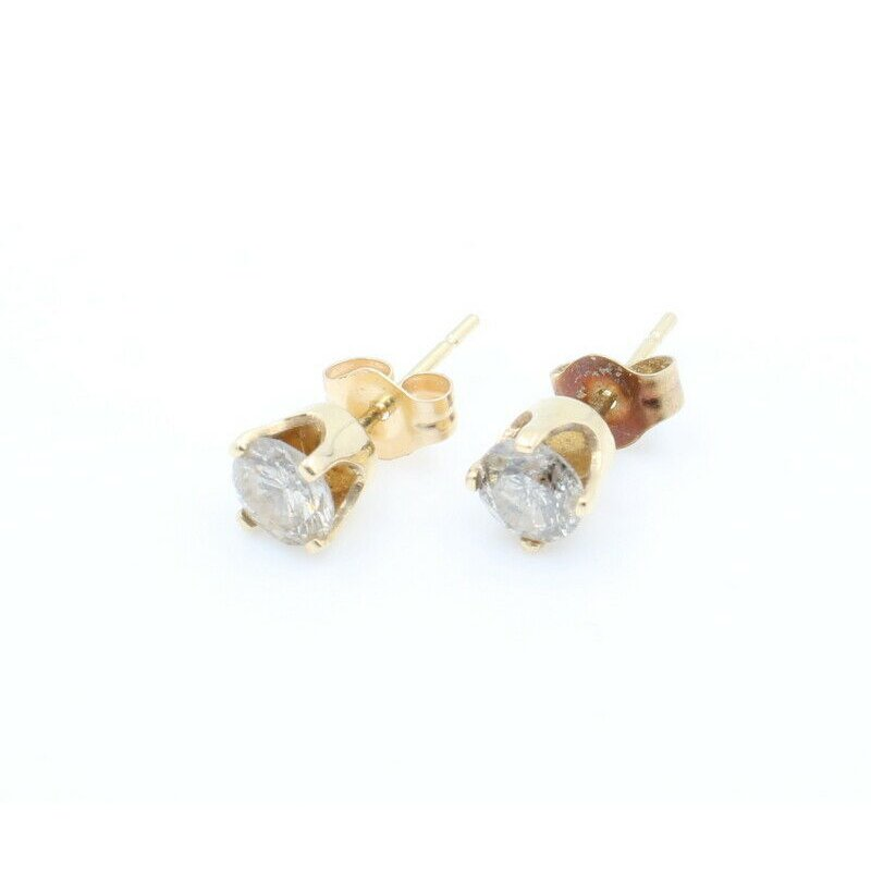 National Rarities 14K SOLID GOLD 0.66CTW ROUND BRILLIANT CUT DIAMOND STUD EARRINGS #J7-6