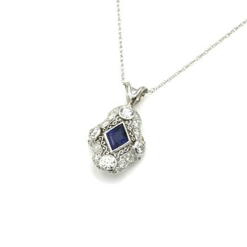 ART DECO PLATINUM 14K 1.0 CT EURO CUT DIAMOND KITE SAPPHIRE NECKLACE #E0319-67